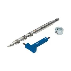 Сверло, шестигранный ключ с разметкой и стопорное кольцо Kreg