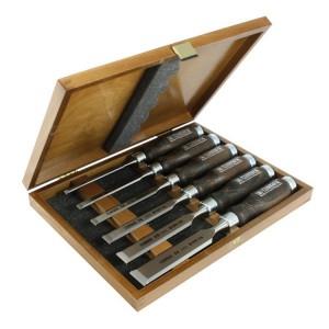 Набор из 6 стамесок Narex Wood LineProfi с мореной рукояткой в деревянной коробке